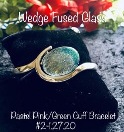 Blue/lt.green Swirl double silverplate bracelet