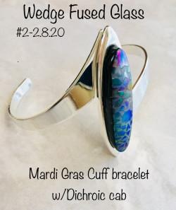 """Mardi Gras dichroic glass """"Z"""" bracelet"""